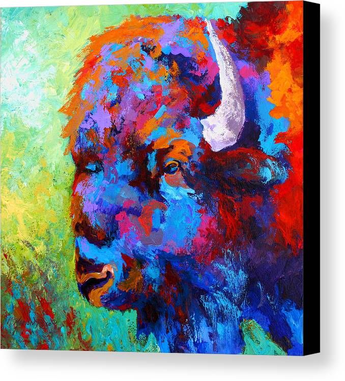 Wildlife Canvas Print featuring the painting Bison Head II by Marion Rose