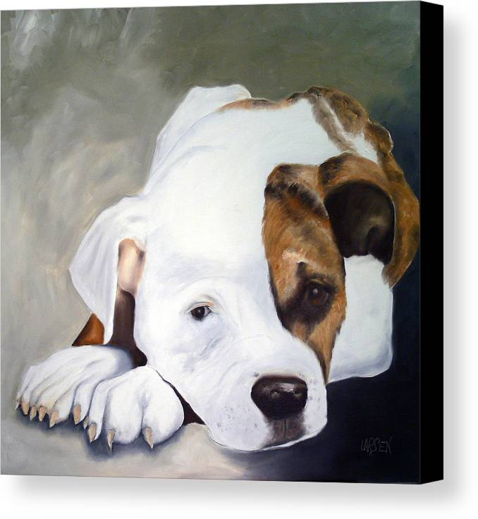 Canvas Print featuring the painting Bulldog by Dick Larsen