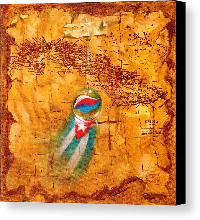 Marble Hanging By A String Canvas Print featuring the painting Colgando En Un Hilito by Roger Calle