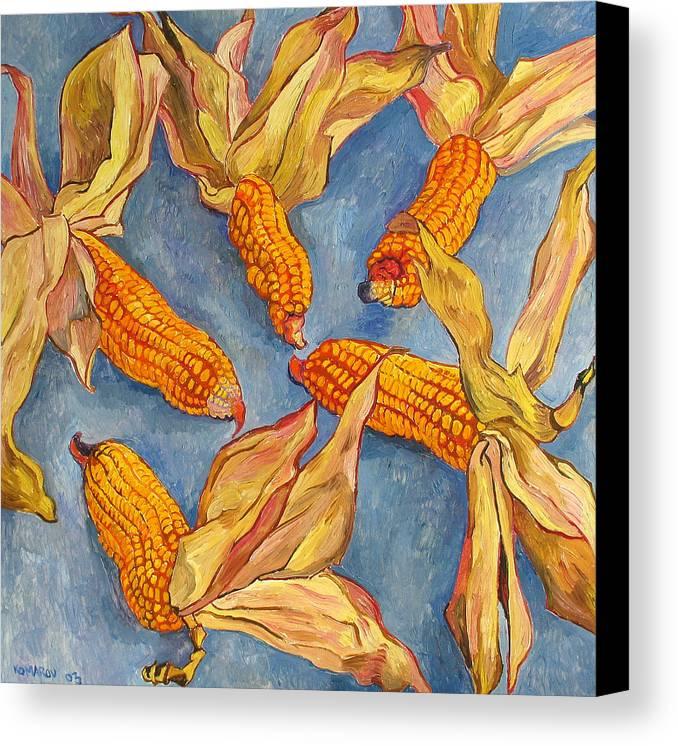 Corn Canvas Print featuring the painting Corn by Vitali Komarov