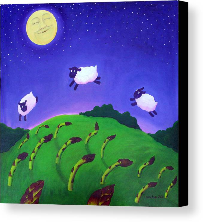 Sheep Canvas Print featuring the painting Counting Sheep by Karen Aune