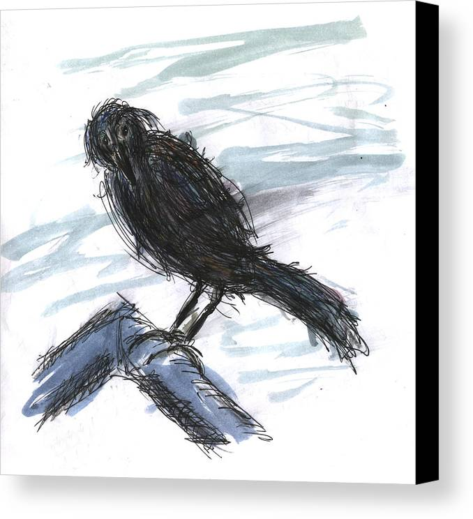 Kevin Callahan Canvas Print featuring the painting Crow In The Wind by Kevin Callahan