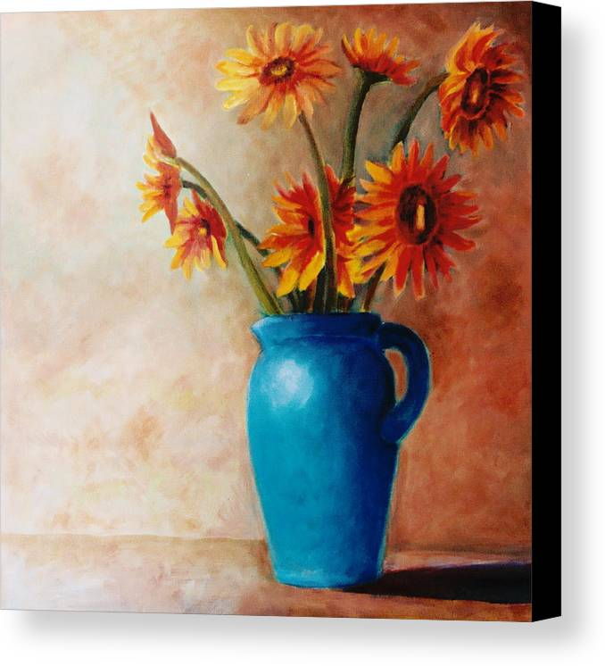 Daisies Canvas Print featuring the painting Daisies And Blue by Jun Jamosmos
