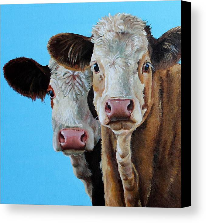 Simmental Canvas Print featuring the painting Double Dutch by Laura Carey