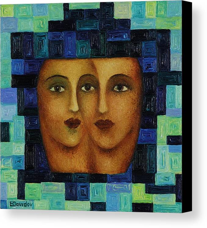 Image Canvas Print featuring the painting Duet 3 by Evgenia Davidov