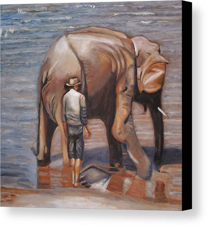 Elephant Canvas Print featuring the painting Elephant Man by Keith Bagg
