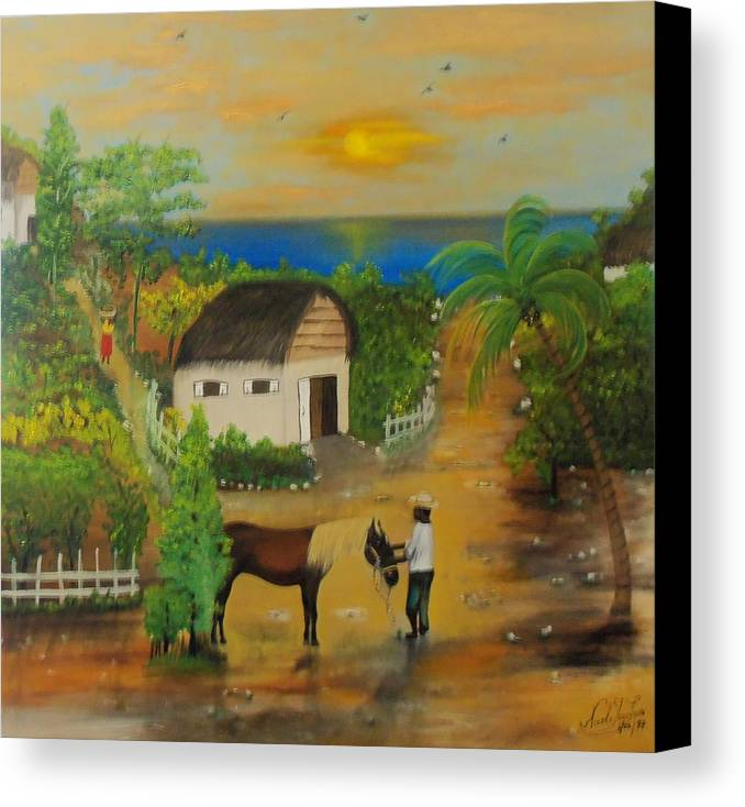 Nicole Jean-louis Canvas Print featuring the painting End Of The Day by Nicole Jean-Louis
