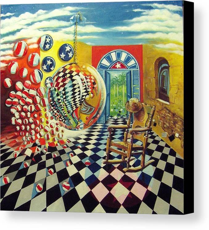 Spheres Canvas Print featuring the painting Esperando Ansiosamente La Salida by Roger Calle