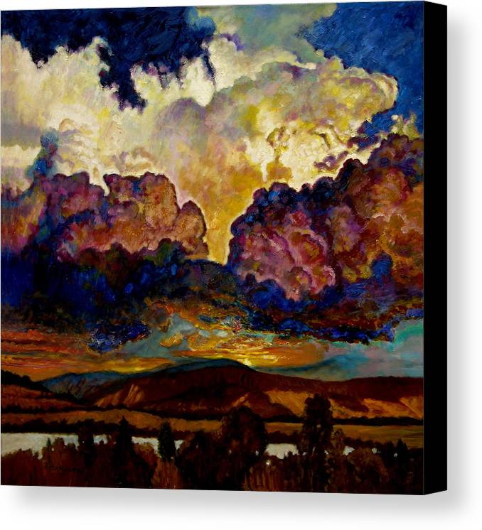 Sunset Canvas Print featuring the painting Evening Clouds Over The Valley by John Lautermilch