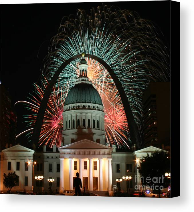 In Focus Canvas Print featuring the photograph Fair St Louis Fireworks by William Shermer