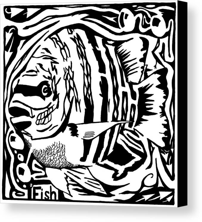 Fish Canvas Print featuring the drawing Fish Maze by Yonatan Frimer Maze Artist