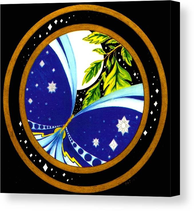 Butterfly With Stars Canvas Print featuring the painting Freedom Mandala Series Number Eleven by Pam Ellis