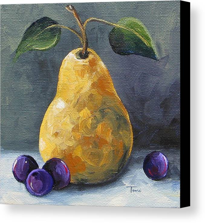 Pear Canvas Print featuring the painting Gold Pear With Grapes II by Torrie Smiley