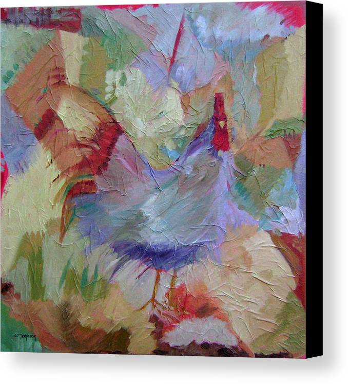 Chicken Paintings Canvas Print featuring the painting Good Morning by Ginger Concepcion