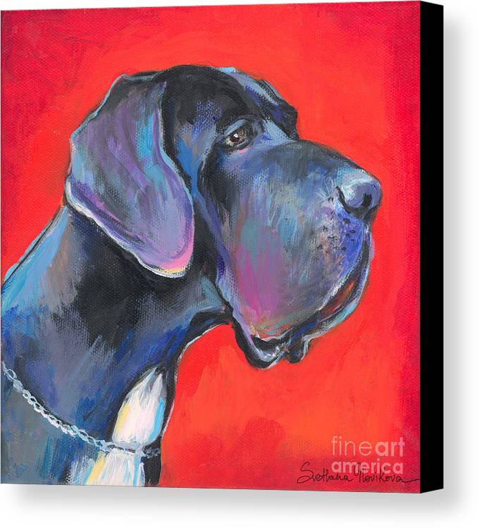 Great Dane Painting Canvas Print featuring the painting Great Dane Painting by Svetlana Novikova