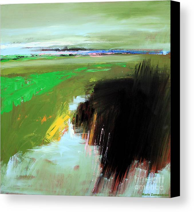 Abstract Landscape Canvas Print featuring the painting Green Field by Mario Zampedroni