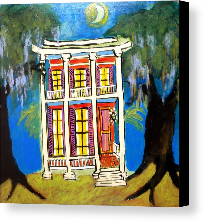 New Orleans Canvas Print featuring the digital art House On Esplanade by Linda MorganSmith