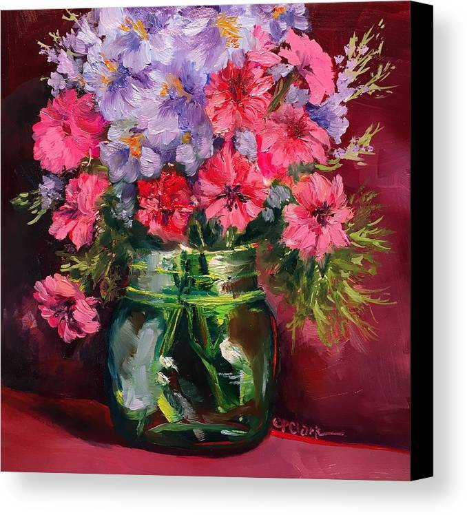 Floral Canvas Print featuring the painting I Am Here Waiting For You by Donna Pierce-Clark