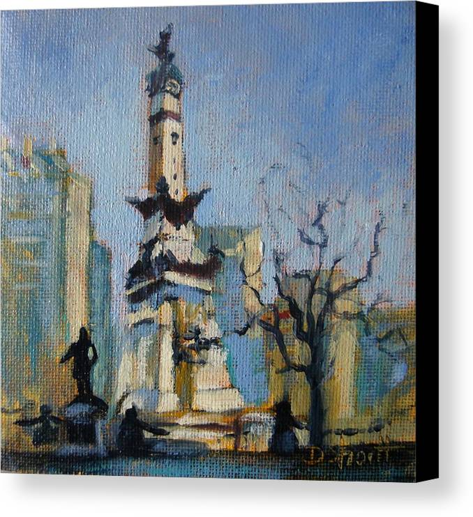 Indianapolis Canvas Print featuring the painting Indy Circle Monument by Donna Shortt