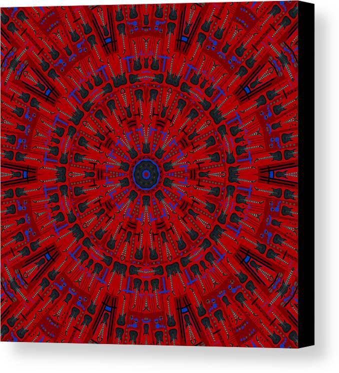 Jackson Canvas Print featuring the digital art Jackson Dk2 Guitar Kaleidoscope by Joy McKenzie