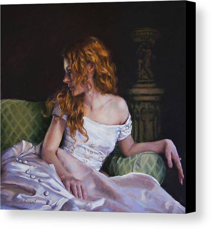 Young Canvas Print featuring the painting Jessica Daydreaming by Jean Hildebrant