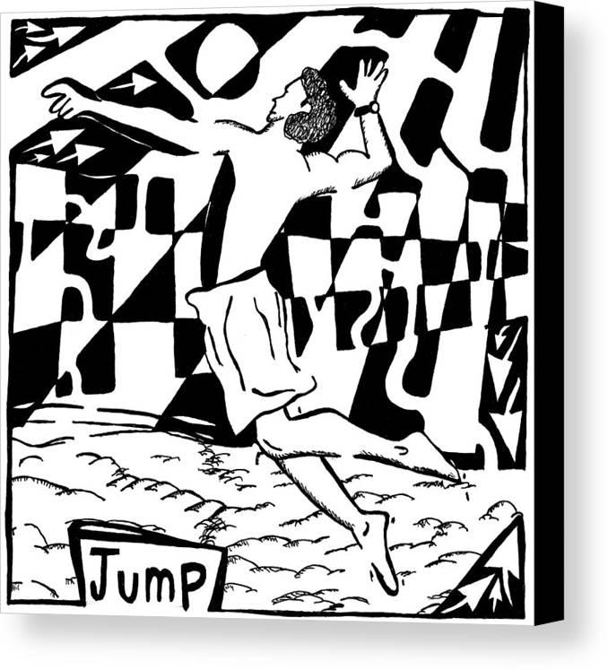 Jump Canvas Print featuring the drawing Jump Maze by Yonatan Frimer Maze Artist