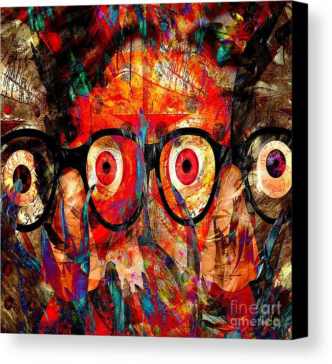 Fania Simon Canvas Print featuring the mixed media Label The Brain Through The Eyes - Lords Of Madness by Fania Simon