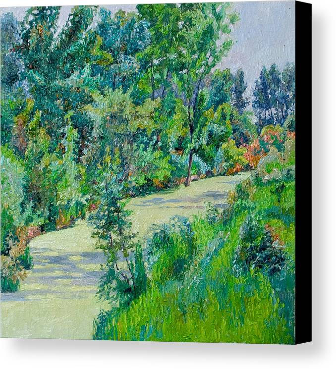 Landscape Canvas Print featuring the painting Landscape With Duckweed by Vitali Komarov