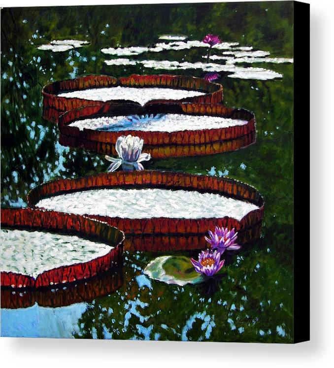 Garden Pond Canvas Print featuring the painting Lily Pad Highlights by John Lautermilch