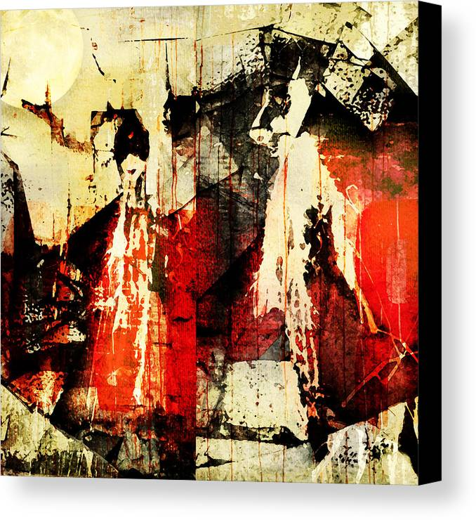 Abstract Canvas Print featuring the photograph Little Red Riding Hood And The Big Bad Wolf Under A Yellow Moon by Jeff Burgess