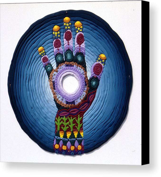 Mandala Canvas Print featuring the relief Magic Hand by Arla Patch