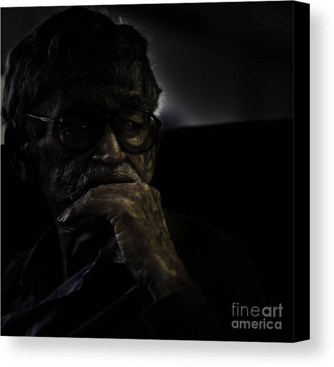 Portrait Canvas Print featuring the photograph Man On Ferry by Sheila Smart Fine Art Photography