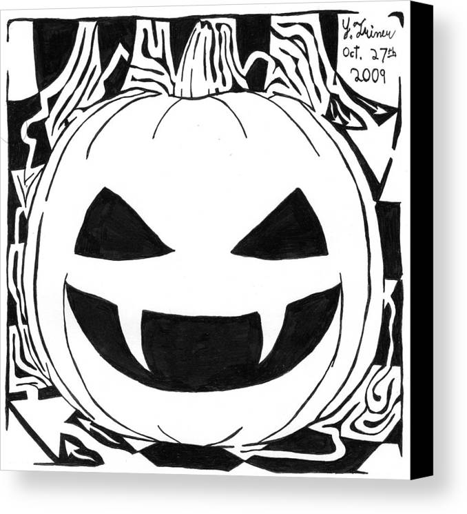 Maze Canvas Print featuring the painting Maze-o-lantern by Yonatan Frimer Maze Artist