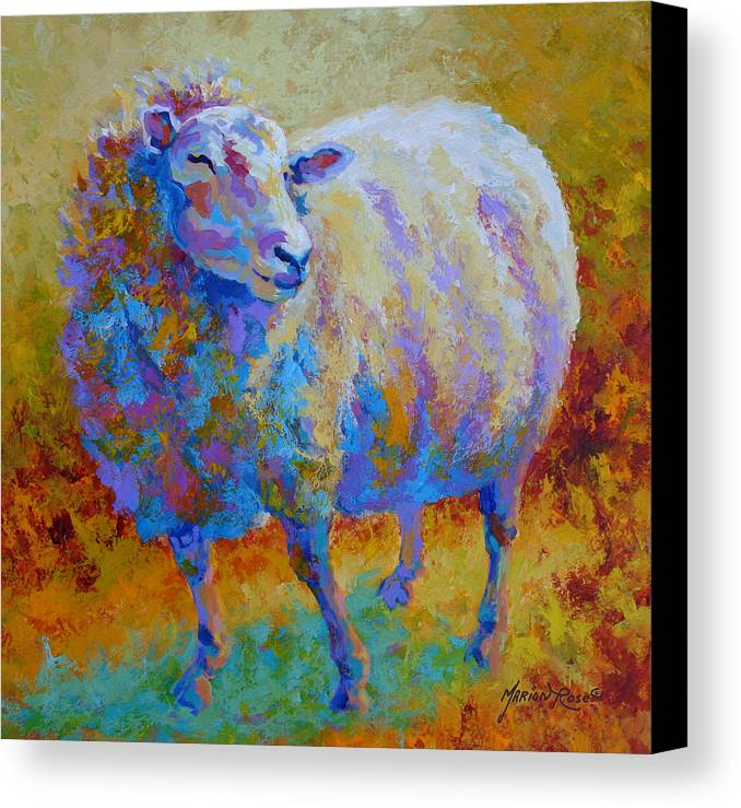 Llama Canvas Print featuring the painting Me Me Me by Marion Rose