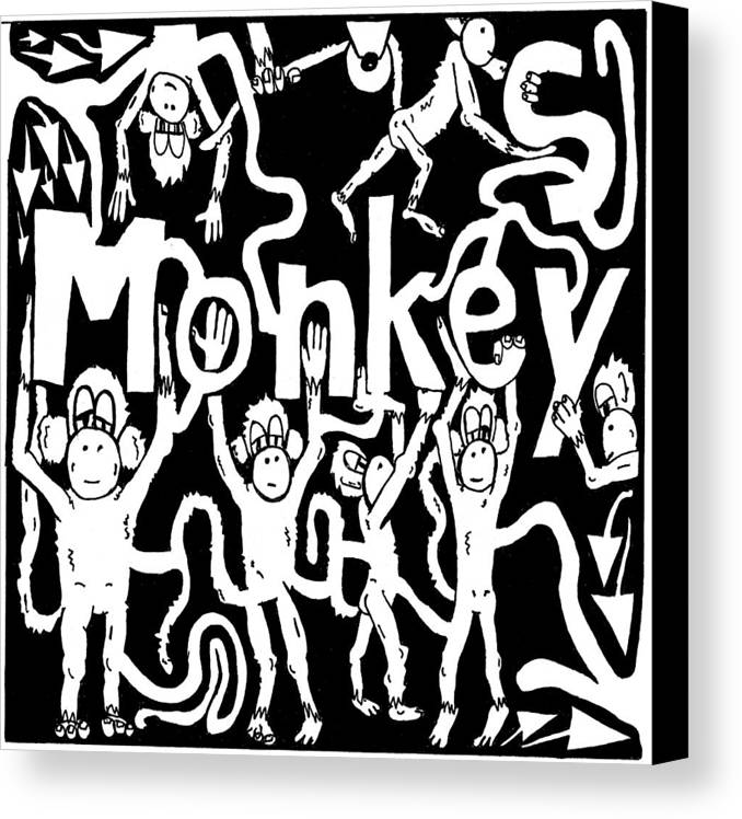Monkey Canvas Print featuring the drawing Monkeys Maze For M by Yonatan Frimer Maze Artist