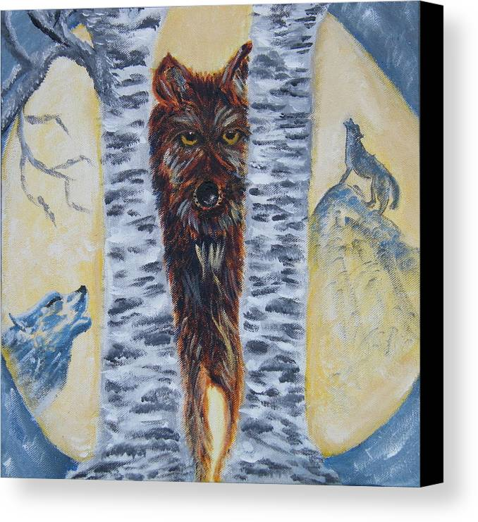 Wolves Canvas Print featuring the painting Moon Of The Wolves by Margaret G Calenda