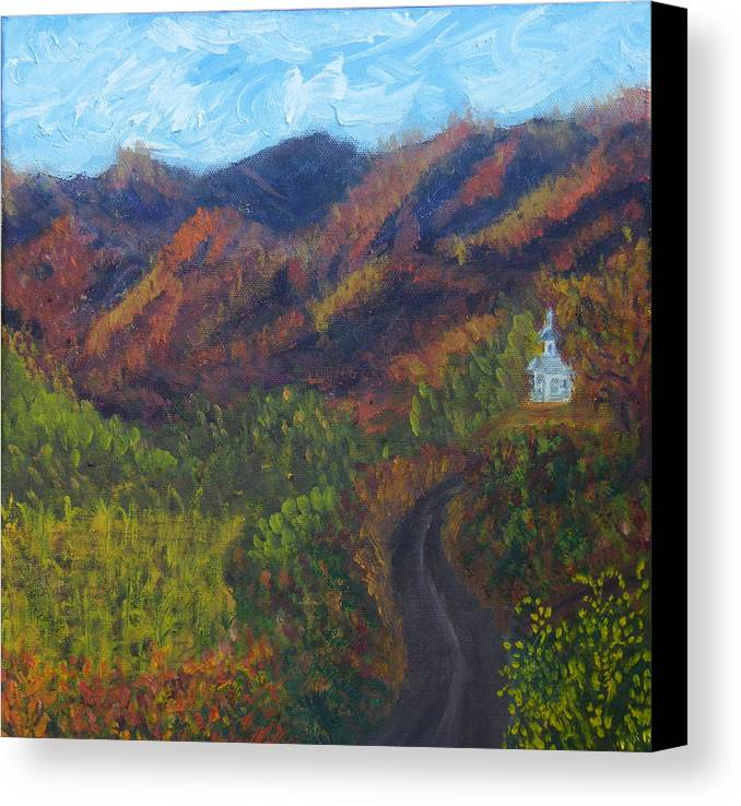 Fall Canvas Print featuring the painting October Road To Home by Margaret G Calenda