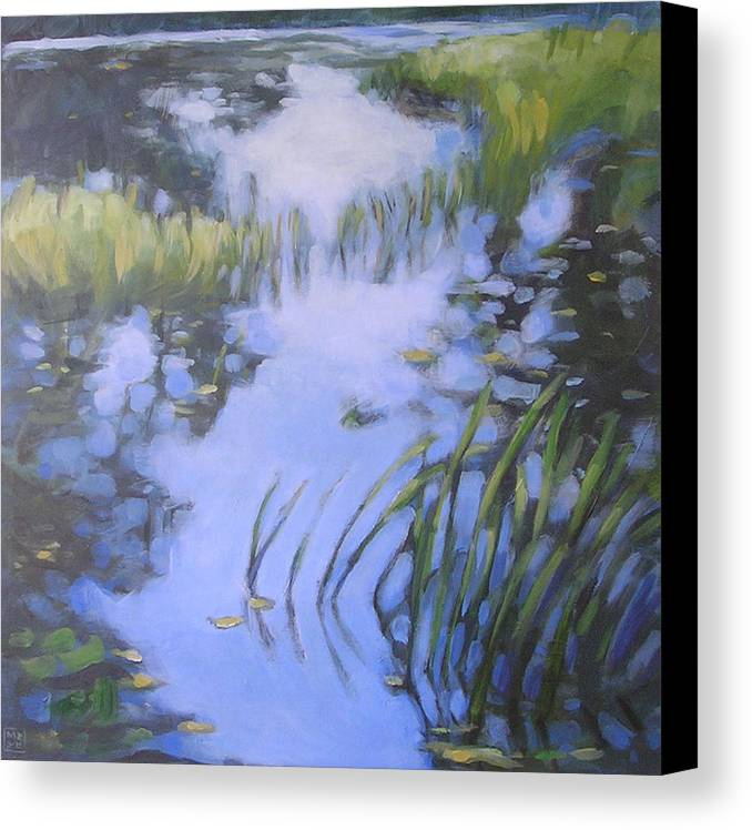 Landscape Canvas Print featuring the painting On Calm Reflection by Mary Brooking