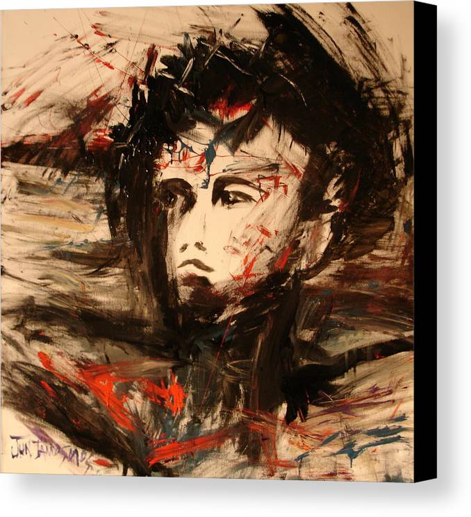 Jesus Canvas Print featuring the painting On The Cross by Jun Jamosmos