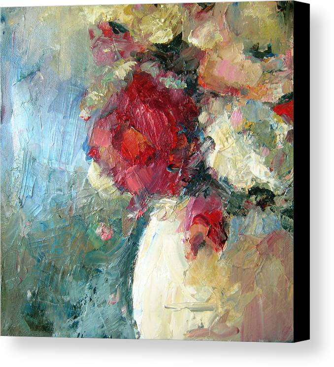 Flower Canvas Print featuring the painting One Red Rose by Sharleen Boaden