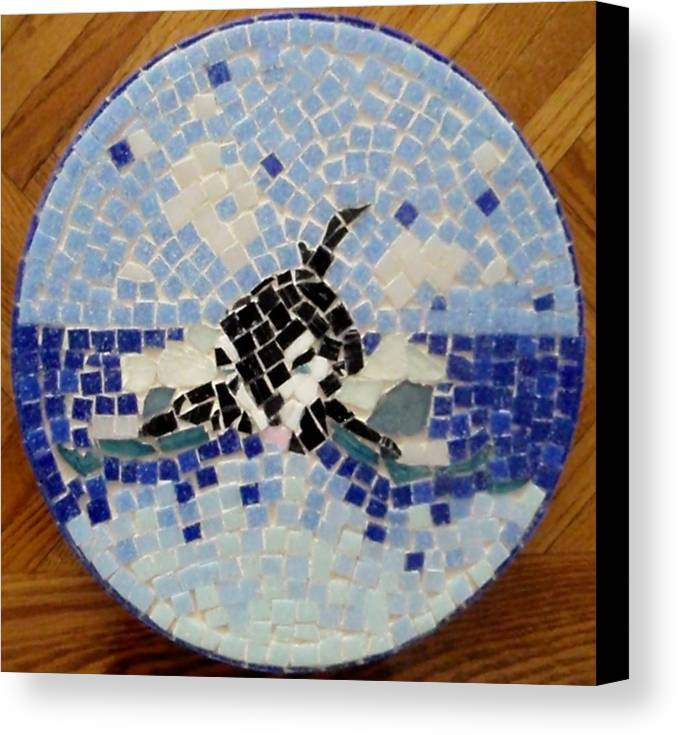 Orca Canvas Print featuring the glass art Orca Mosiac by Jamie Frier