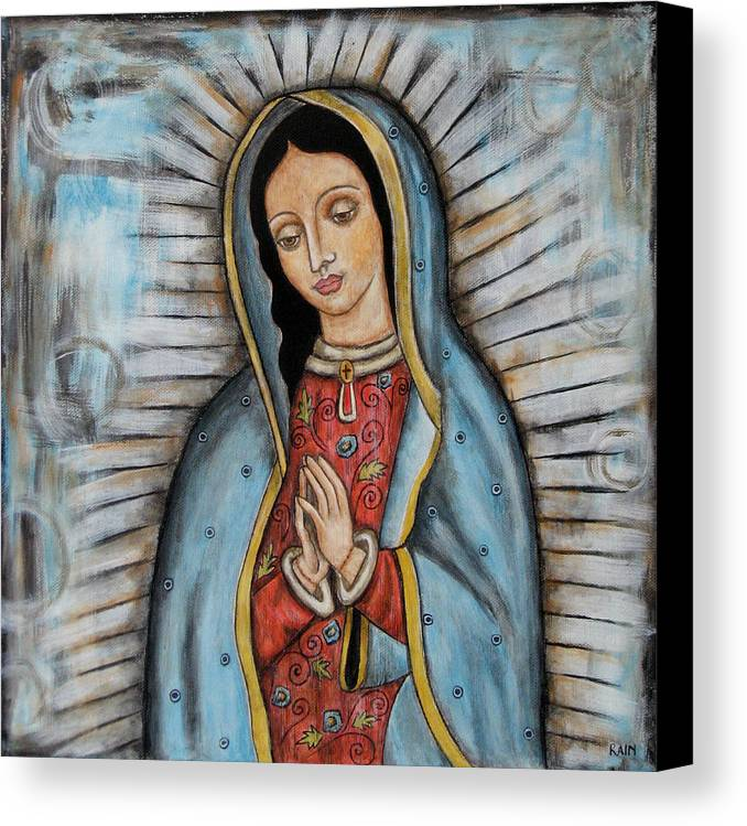 Folk Art Paintings Canvas Print featuring the painting Our Lady Of Guadalupe by Rain Ririn