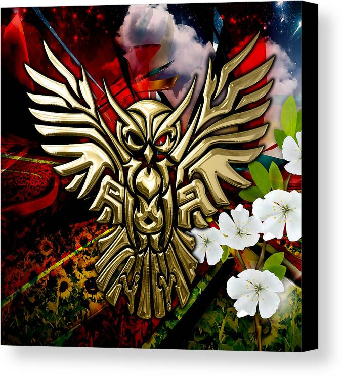 Owl Canvas Print featuring the mixed media Owl In Flightcollectioni by Marvin Blaine