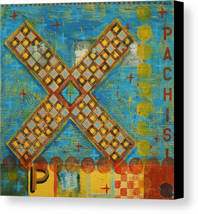 Games Canvas Print featuring the painting Pachisi by Judy Anderson