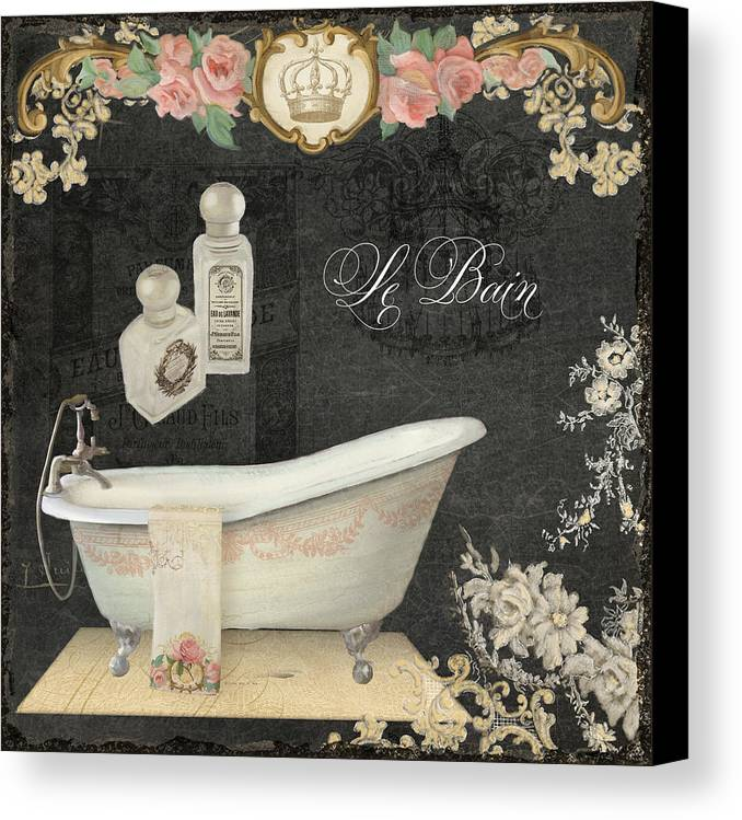 Paris - Chalkboard Le Bain Or The Bath Chandelier And Tub With Roses ...