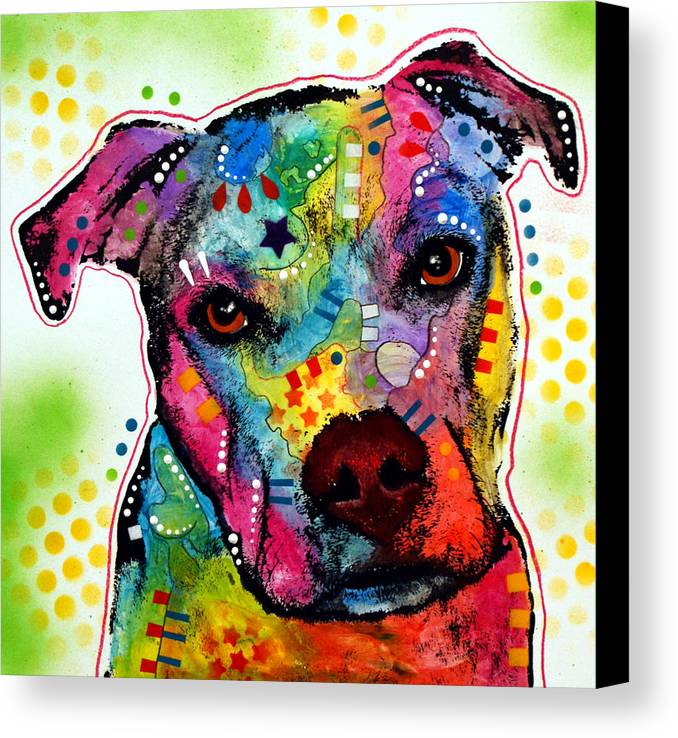 Pitbull Canvas Print featuring the painting Pity Pitbull by Dean Russo