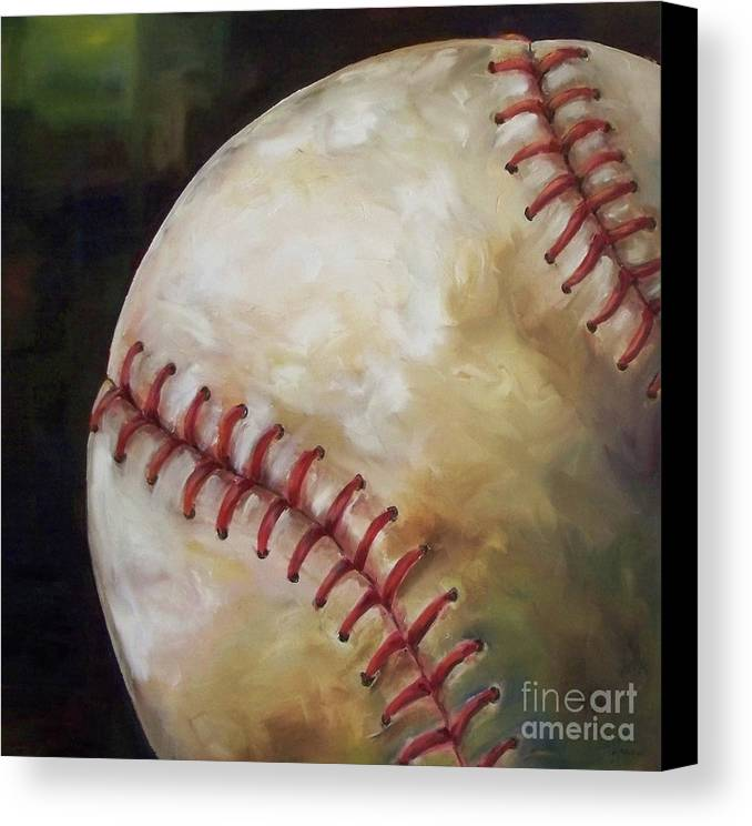 Baseball Canvas Print featuring the painting Play Ball by Kristine Kainer