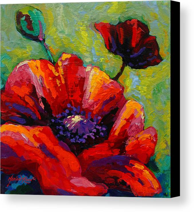 Poppies Canvas Print featuring the painting Poppy I by Marion Rose