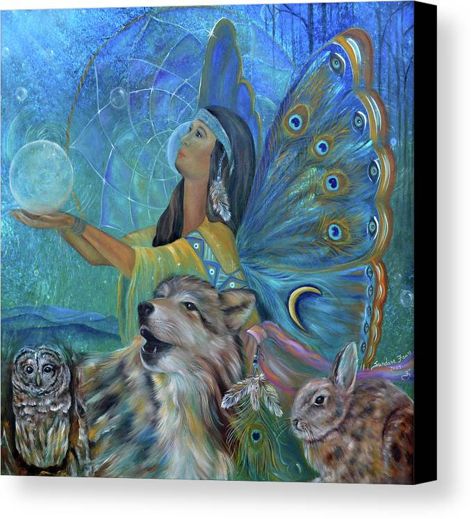 Native American Canvas Print featuring the painting Purification by Sundara Fawn