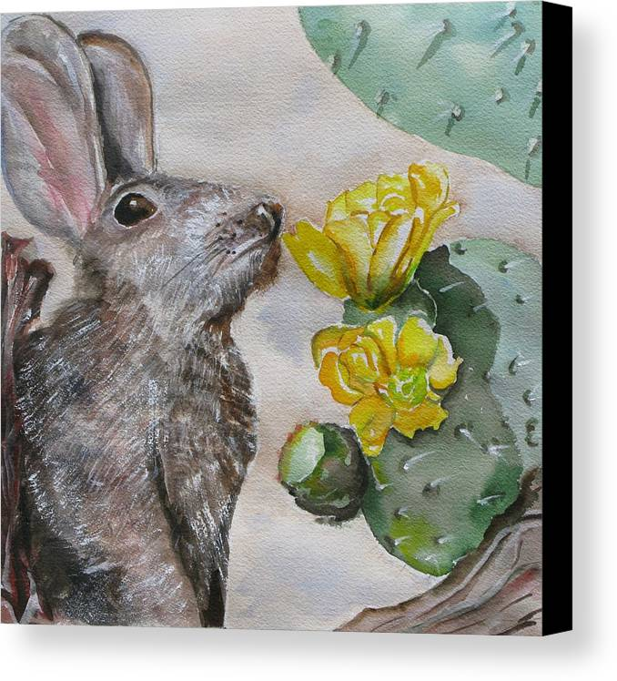 Canvas Print featuring the painting Rabbit With Flower by Kathy Mitchell